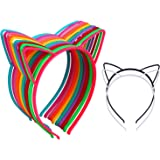 12Pcs Cat Ear Headbands Girl's Plastic Headbands Cat Bow Hairbands for Women and Girls, Costume Favors Accessories