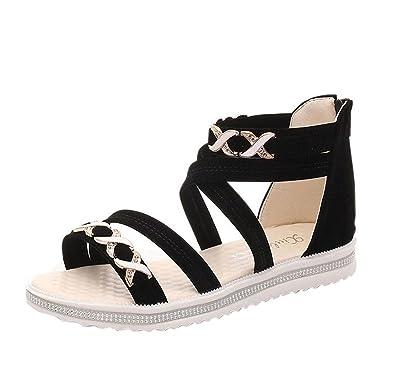 30c4d992295733 Tefamore Women Flat Shoes Summer Soft Leather Ladies Sandals  Amazon ...
