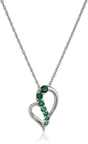 """Sterling Silver Gemstone and Diamond-Accent Heart Journey Pendant Necklace, 18"""""""