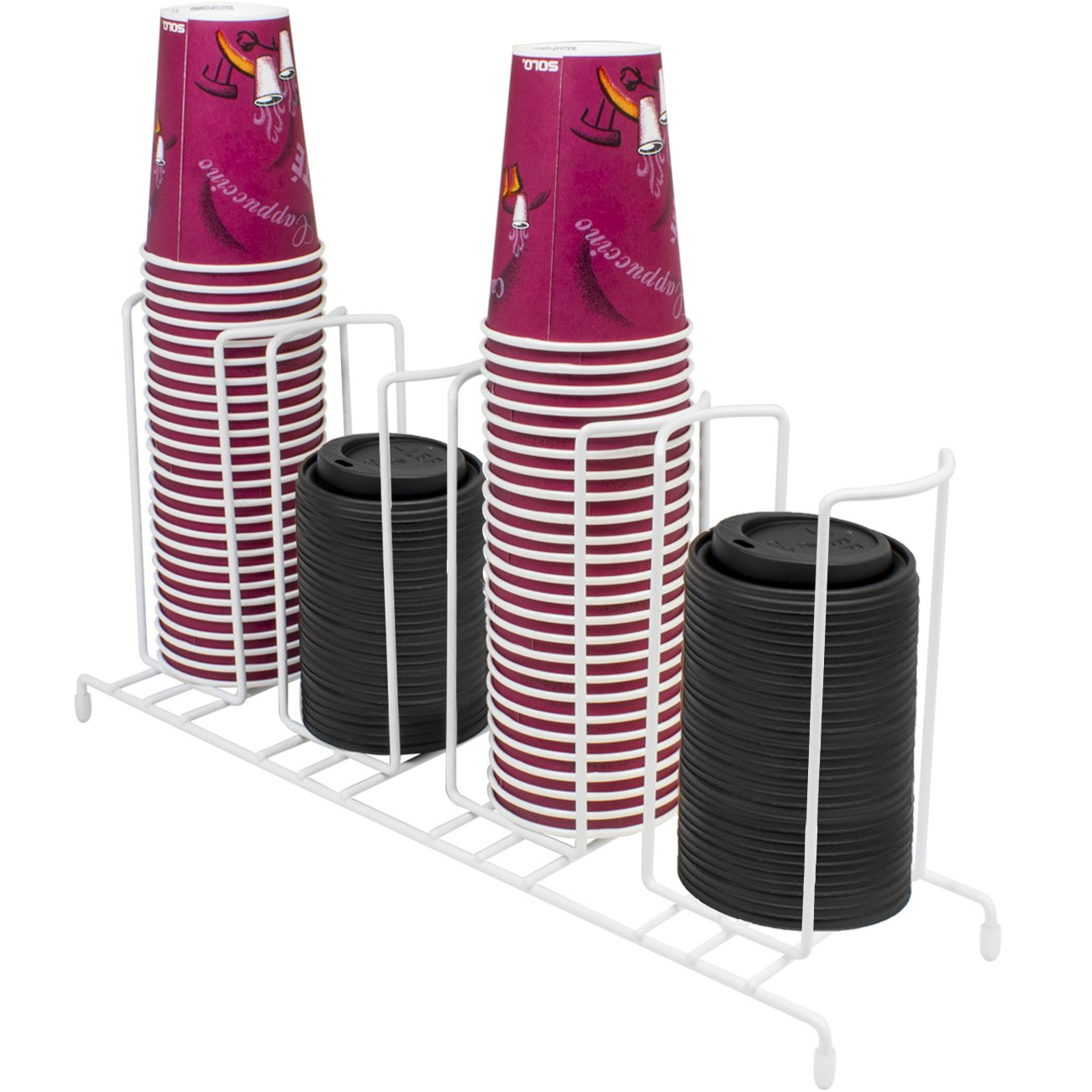 Sorbus Cup and Lid Organizer, Great for Office, Convenience Store, Coffee Shop, Buffet, and More, 4 Section Rack, Holds 5, 6 and 10 oz. Cups and Lids (Black) CUP-HLDR4-BLK