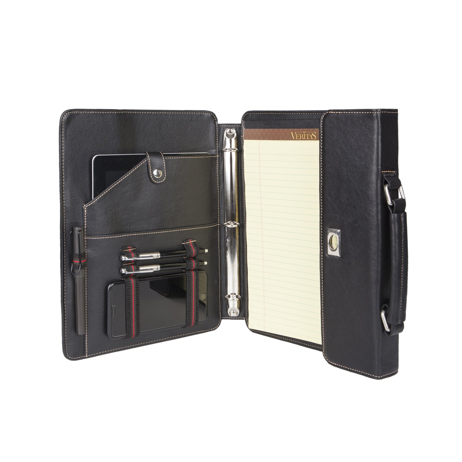 Senior Special Portable Portfolio with Folding Center Panel Genuine Goatskin Leather Multi-function Portable bag for iPad