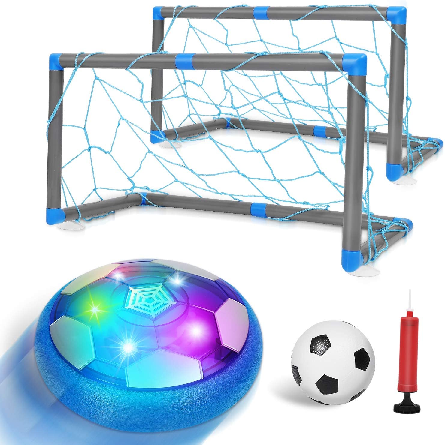 Auney Kids Hover Soccer Toy Ball Set with 2 Goals, Rechargeable Air Soccer with LED Light and Foam Bumper Included Inflatable Ball, Indoor Training Football Game for Boys Girls: Toys & Games