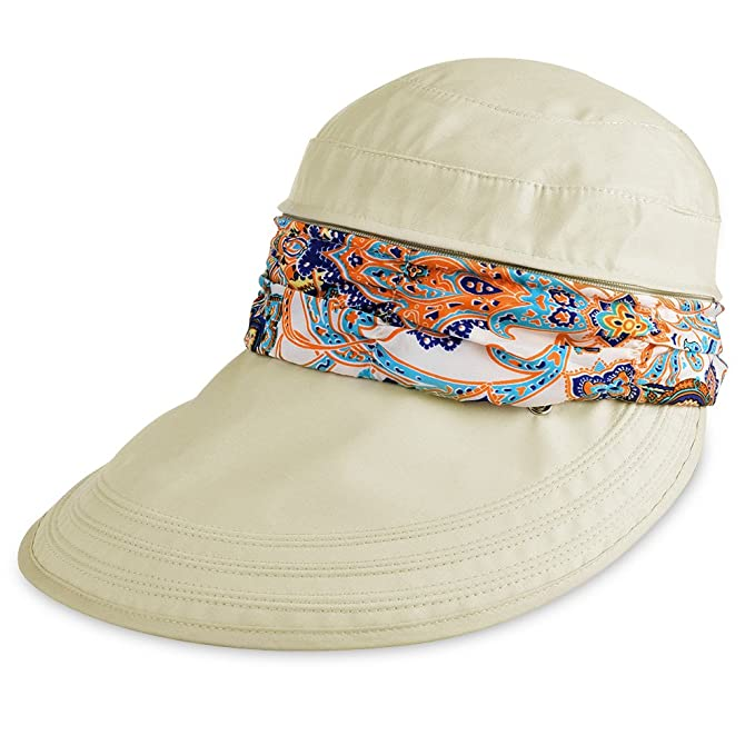 e2f8e660 Vbiger Visor Hats Wide Brim Cap UV Protection Summer Sun Hats For Women  (Beige)