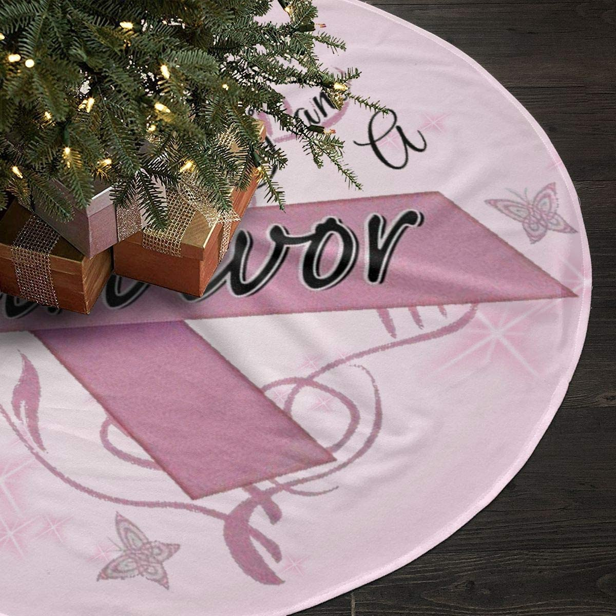 Qinf Breast Cancer Survivor Christmas Tree Skirt 35.5 Xmas Holiday Decoration