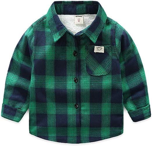 Weentop Camisa a Cuadros de niño Camiseta de Manga Larga Ropa para niños Pequeños (Color : Verde, tamaño : 80): Amazon.es: Hogar