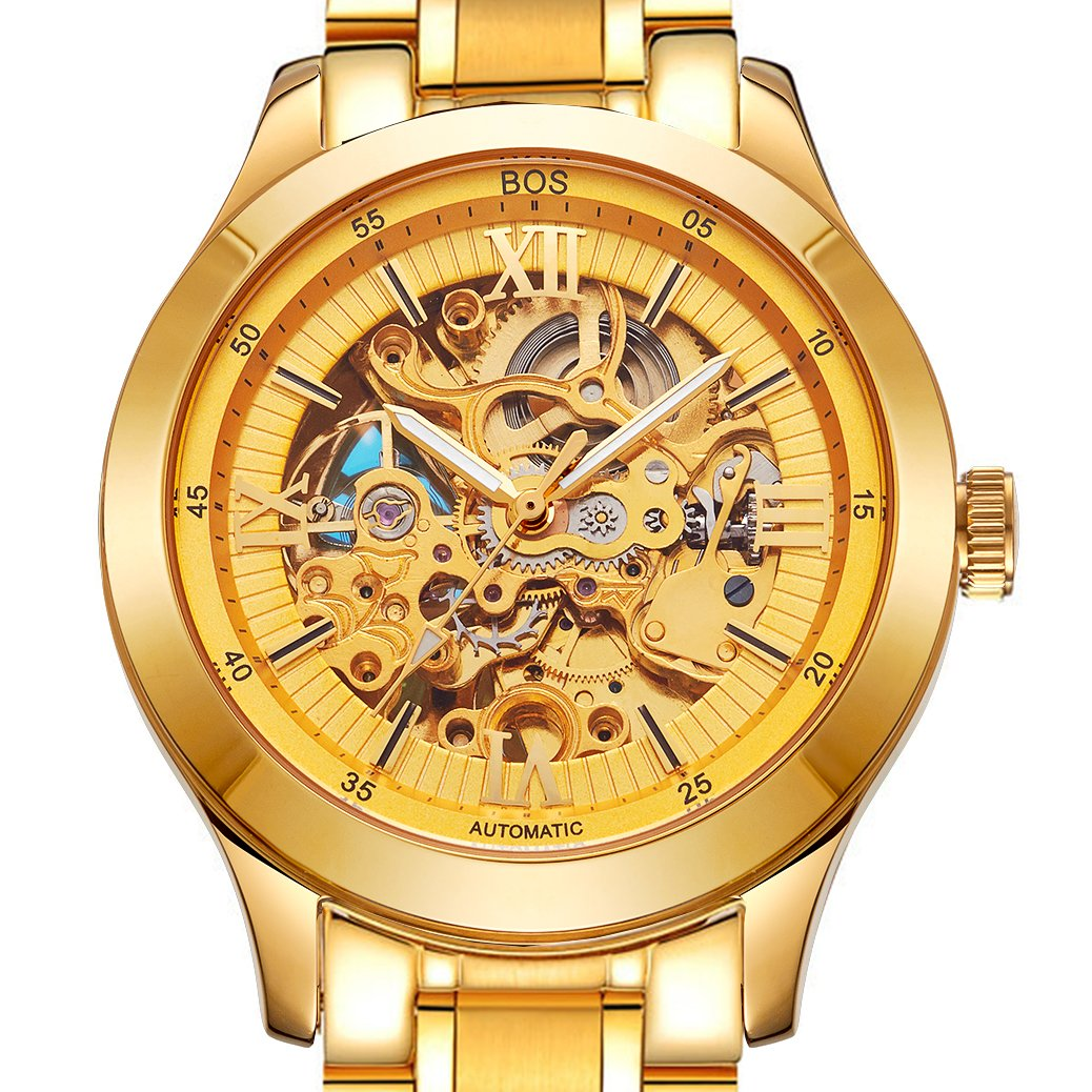 Amazon.com: BOS Mens Mechanical Luminous Pointer Skeleton Gold Color Watch Stainless Steel Band 9008: Angela Von Bos: Watches
