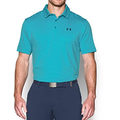 27cb54c83 Under Armour Men s UA coldblack Tee Time Stripe Polo Large Pacific ...