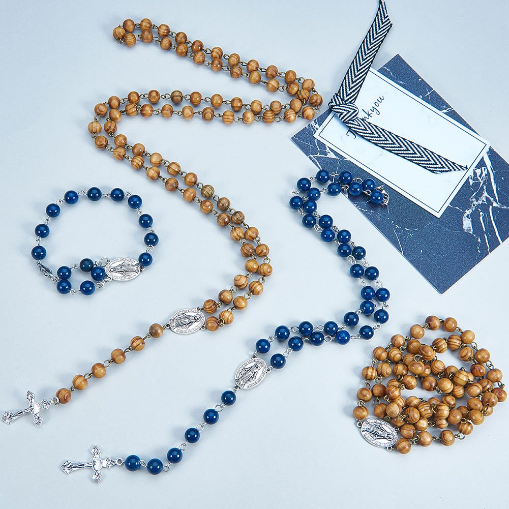 SUNNYCLUE Rosary Making Kit Pearl Bead Rosary Necklace DIY Kit - 2 Strands 6mm & 8mm Handmade Pearl Beads Chains, Crucifix, Rosary Centerpiece, Jump Rings and Lobster Claw Clasps- Make 2 Rosaries DIY-SC0002-50-7SC