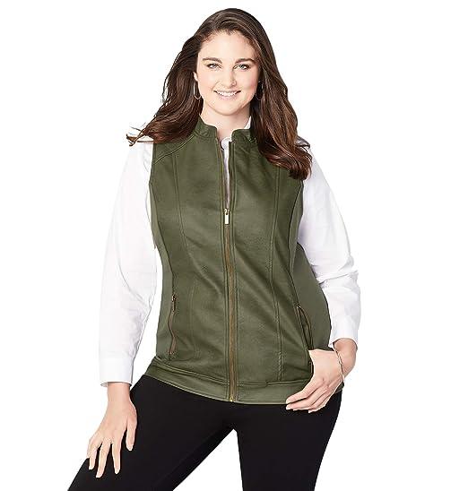 b570fe03b49 Avenue Women s Quilt Trim Faux Leather Vest at Amazon Women s Coats Shop