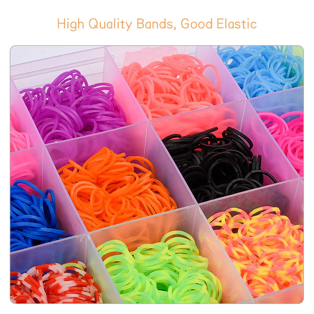 Charms and Storage Case,Friendship Bracelet Maker Making Kit for Kids Rainbow Rubber Bands Refill Kit 6800 Loom Bands Kits with 22 Colors Twist Loom Set with Beads,Clips,Web Frames,Backpack Hooks