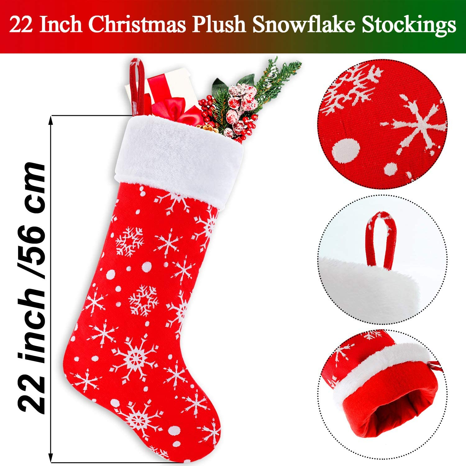 Syhood 3 Pieces 22 Inch Christmas Snowflake Stockings Red and White Plush Stockings Xmas Hanging Stocking for Christmas Decoration Favors