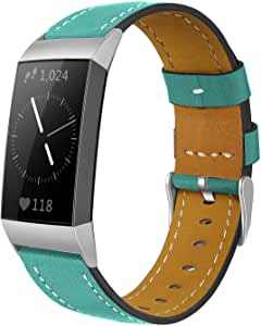 Shangpule Compatible for Fitbit Charge 4 / Fitbit Charge 3 / Fitbit Charge 3 SE Bands, Genuine Leather Band Replacement Accessories Straps Women Men Small Large