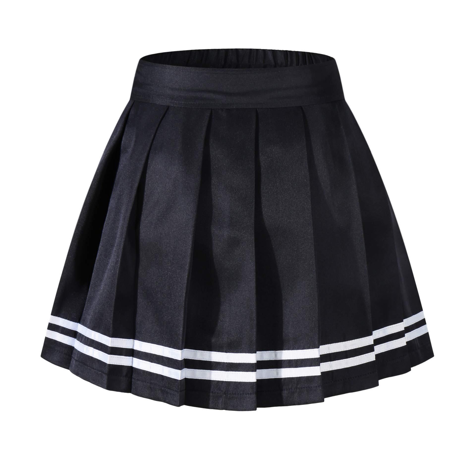 Beautifulfashionlife Girl's High Waisted Pleated Mid Skirt Tennis Shorts Black White Stripes,S