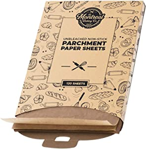 Pre-Cut 12x16 Inch Parchment Paper Sheets | 120 Pack - Unbleached and Non-Stick 100% Food Grade Baking Sheets - Oven Safe and Heat Resistant for Baking Cookies, Pastries, Pizzas and More