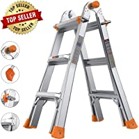 TACKLIFE 13 Foot Telescoping Ladder, Safe Protective Switch, Non-Slip Rubber Feet, 300lb Capacity Extension Multi Use Ladder