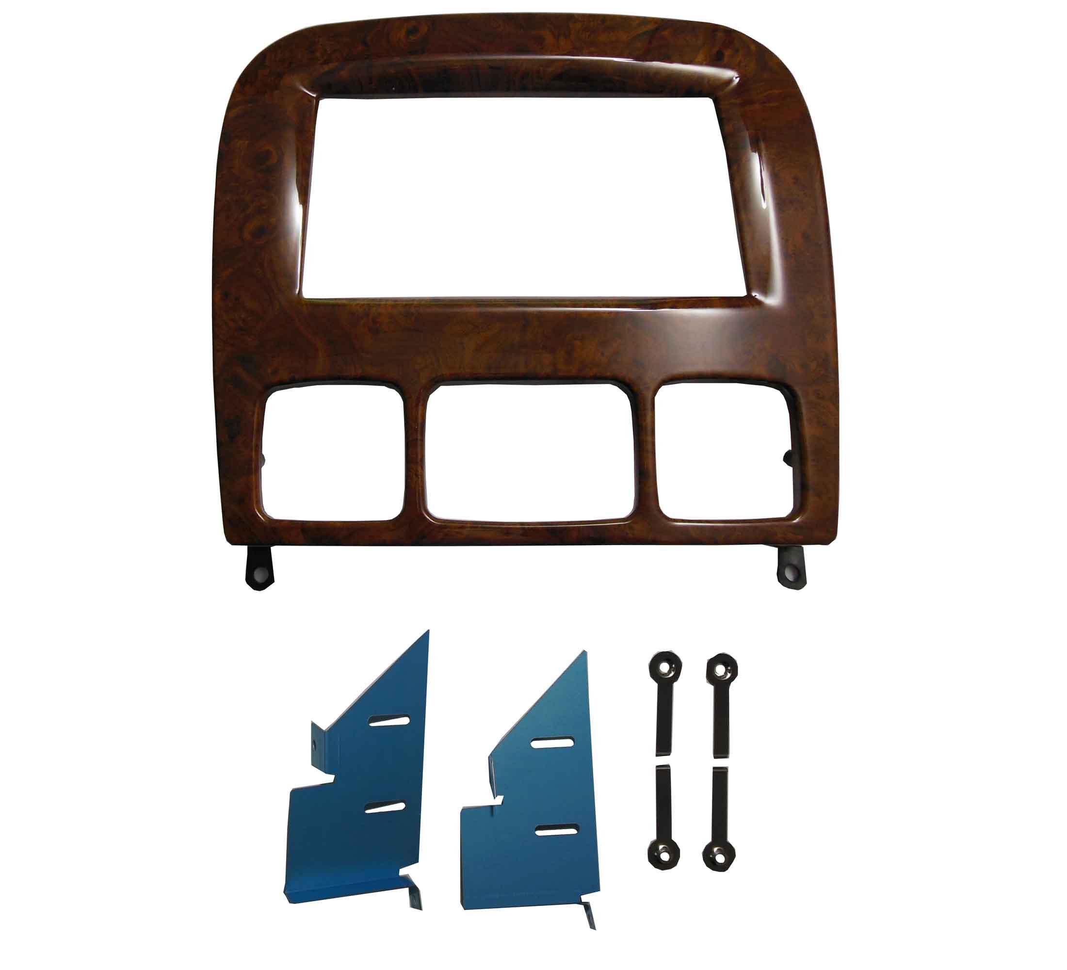 DKM Double Din Radio Stereo Installation Trim for Mercedes Benz S Class W220 Dash Trim Kit Fascia 1998-2005 Wood Grain 17398mm Opening by DKMUS