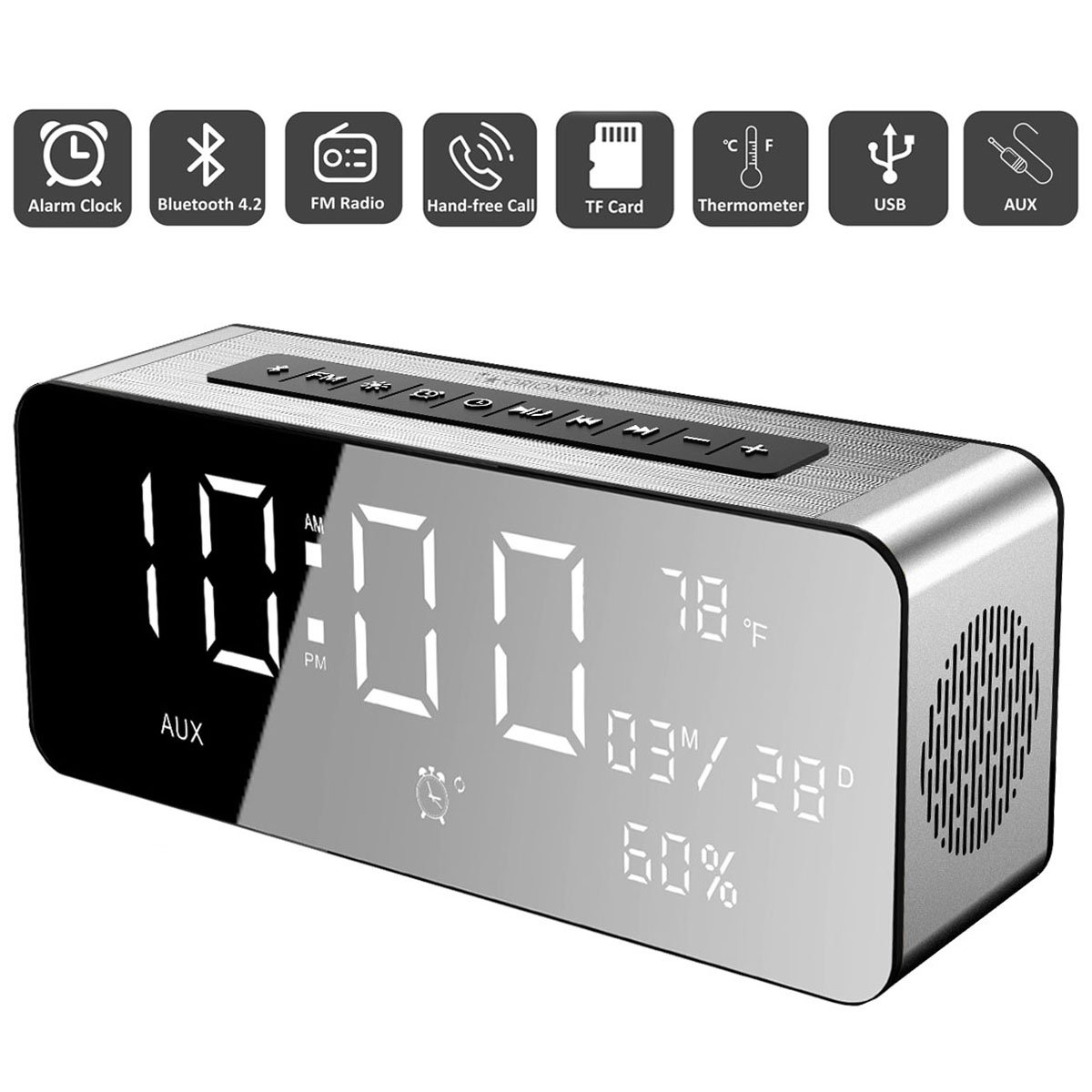 Orionstar Wireless Bluetooth Alarm Clock Radio Speaker with HD Sound & Big Digital Screen Showing Time/Date, Compatible with iPhone/Android/PC4/Aux/MicroSD/TF/USB, for Bedroom Office, Model A10 Silver