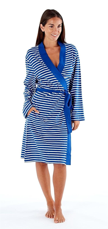 Selena Secrets Womens Soft Jersey Dressing Gown Wrap Striped Fordville
