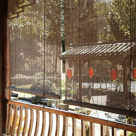 LNDDP Persianas enrollables externas para Patio Exterior Gazebo Pergola Porche, apagón Madera, Ajuste fácil, 80/100/120/140 cm Ancho: Amazon.es: Deportes y aire libre