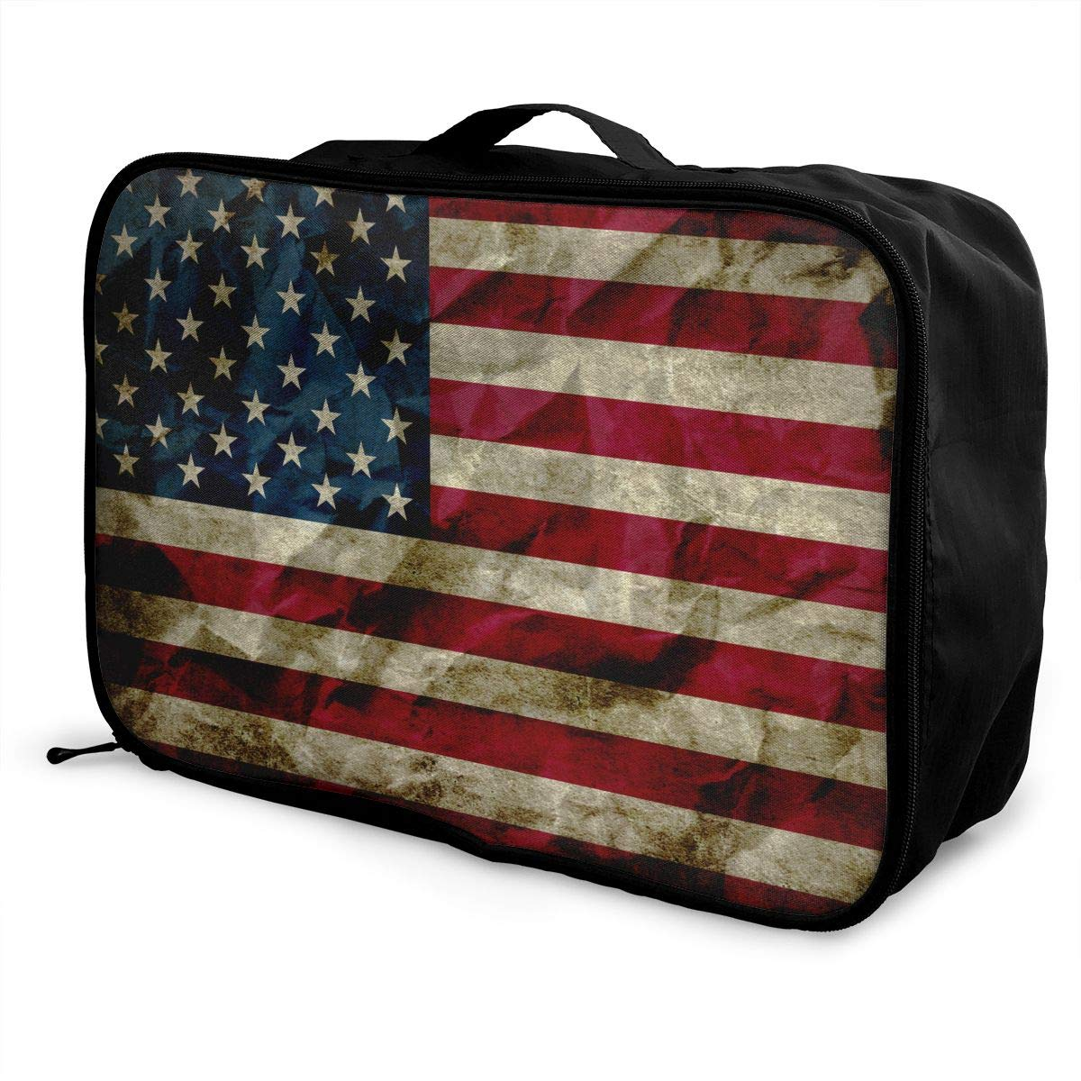YueLJB USA Flag Lightweight Large Capacity Portable Luggage Bag Travel Duffel Bag Storage Carry Luggage Duffle Tote Bag