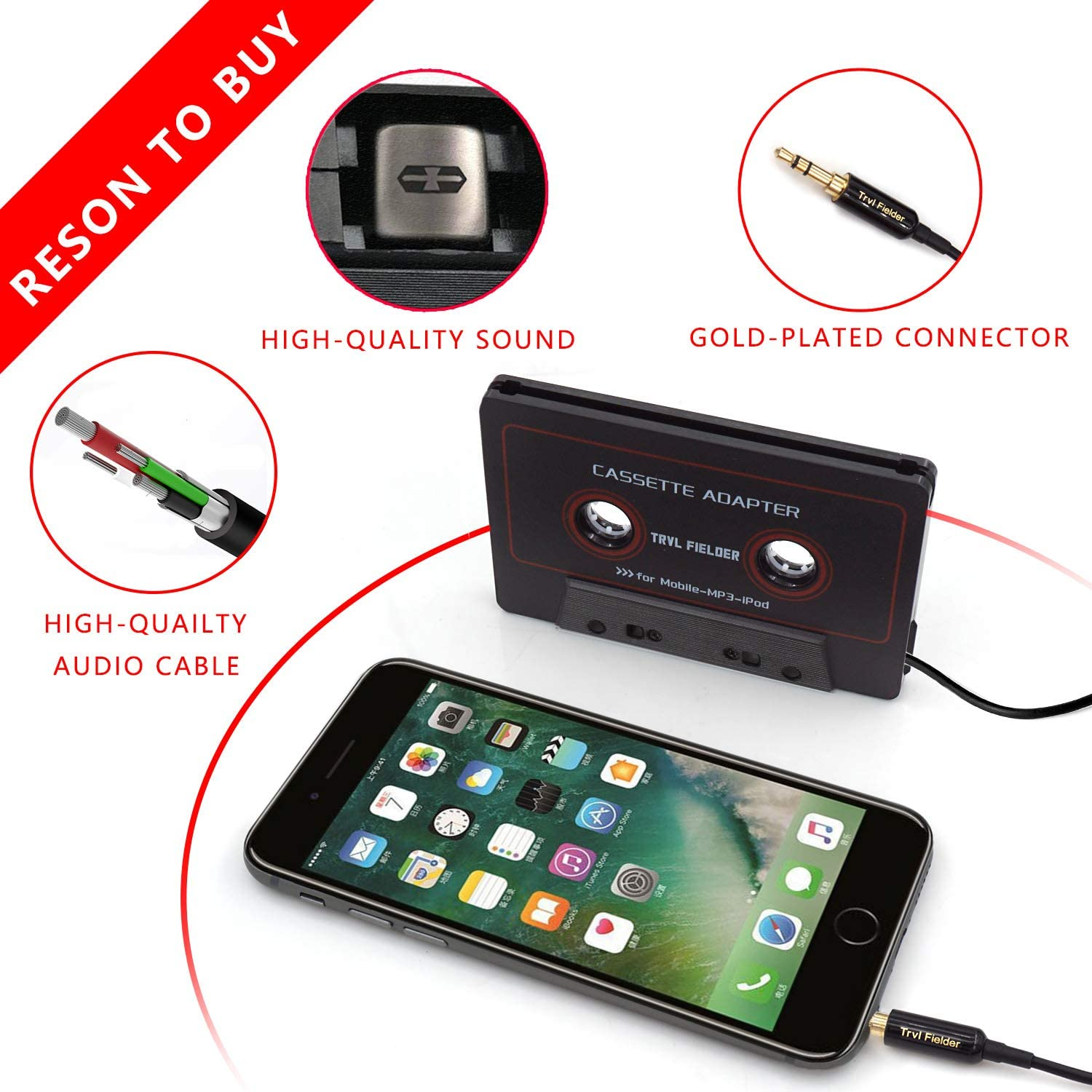White Smartphones Reshow Cassette Adapter for Cars Vintage//Retro Music Converter MP3 Players or a Walkman in a Standard Vehicle Cassette Player Listen to iPods