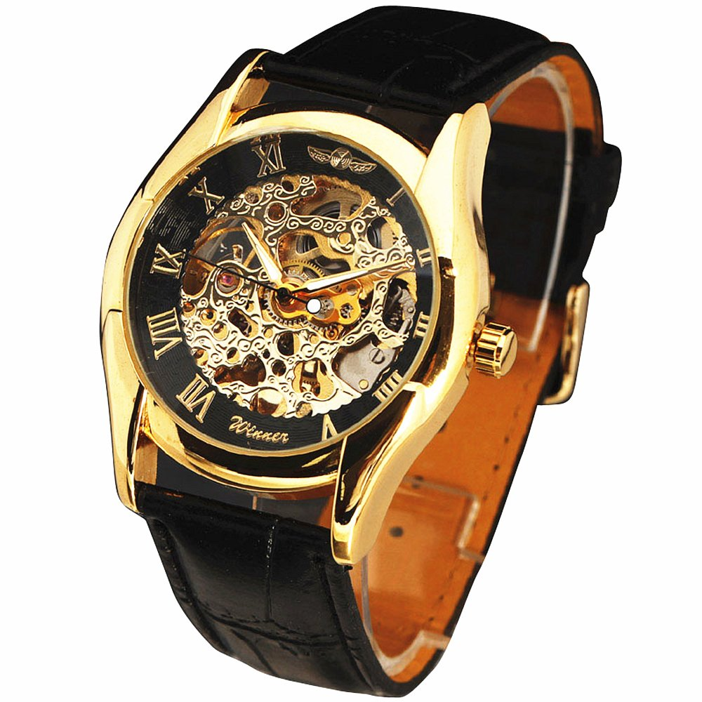 Winner Brand Gold Black Skeleton Automatic Self Wind Mechanical Military Watch Men Women Leather Band Wristwatch