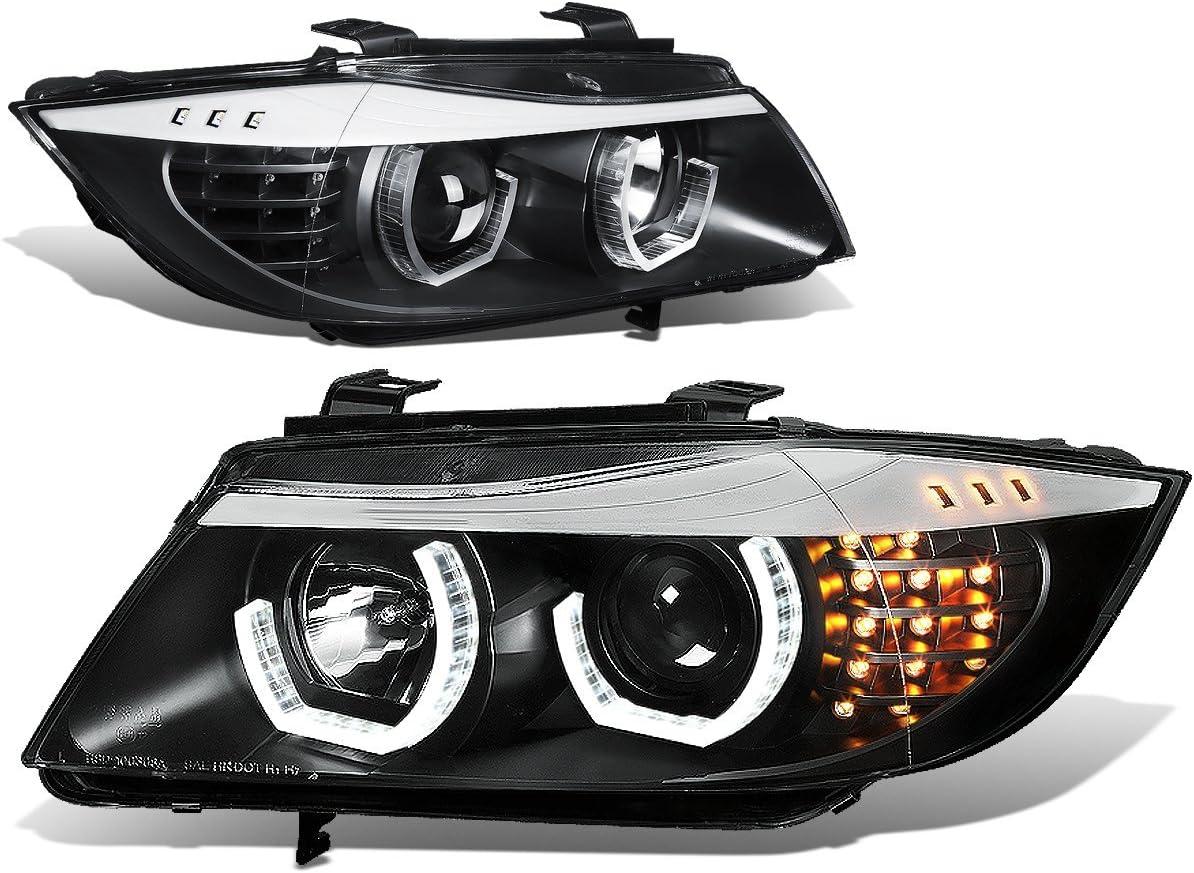 DNA motoring HL-3D-E9005-BK Headlight Assembly, Driver and Passenger Side,Black Housing/ Amber Corner