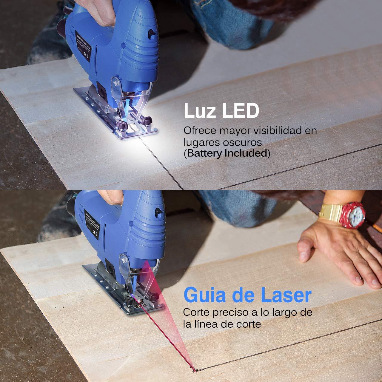 Luz LED 6PCS Hoja para Madera//Plastico Sierra Caladora Corte -45/º a 45/º Holife Sierra Caladora con Gu/ía L/áser 6 Velocidad Ajustable Motor de 780W Guiador de Regla Adaptador de Aspiradora