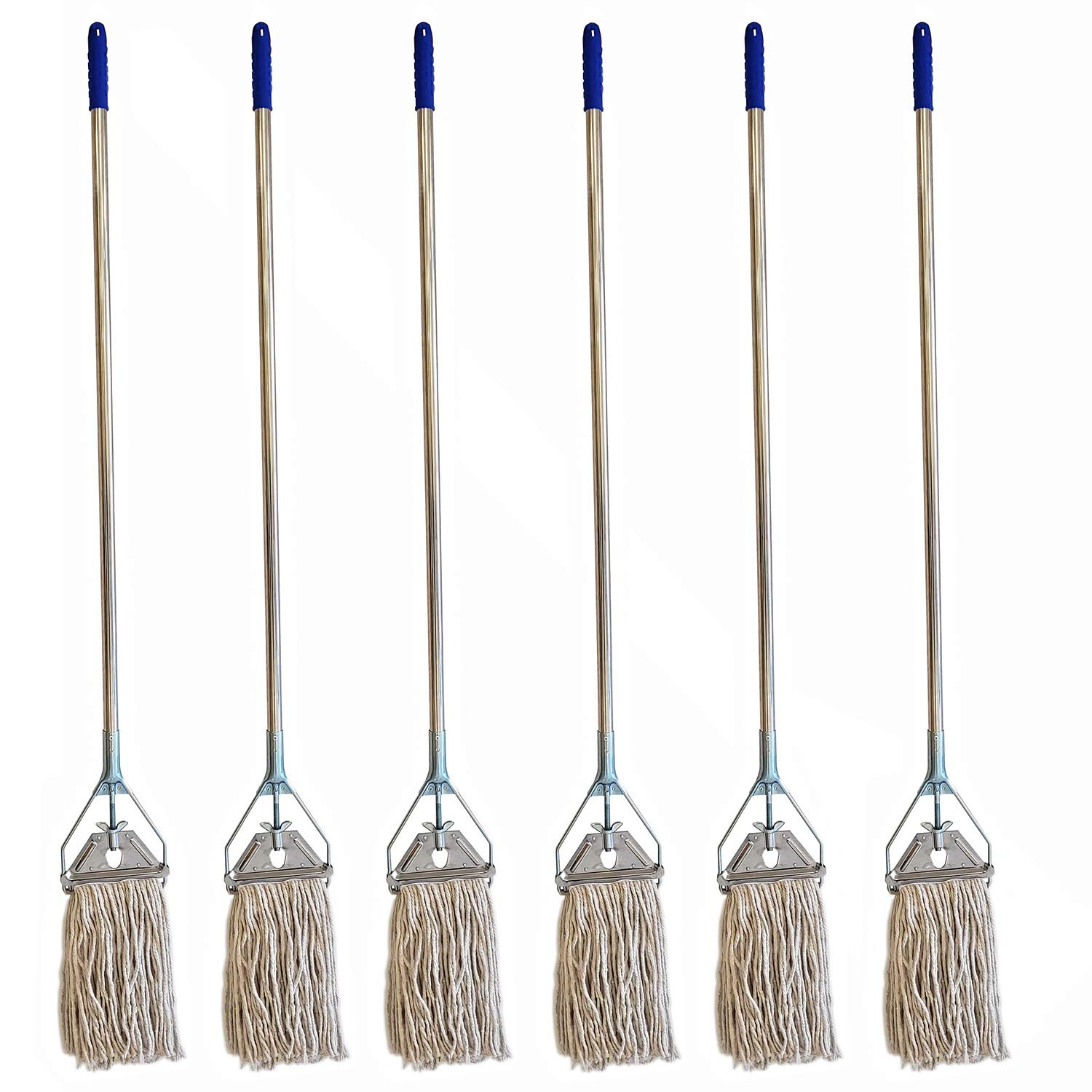 Heavy Duty Premium Industrial Strength Stainless Steel Mop With Handle With Cotton Mop Head for Floor Cleaning-Kitchen Home Office Janitorial Industrial Warehouse (Mop With Head(6 Pack))