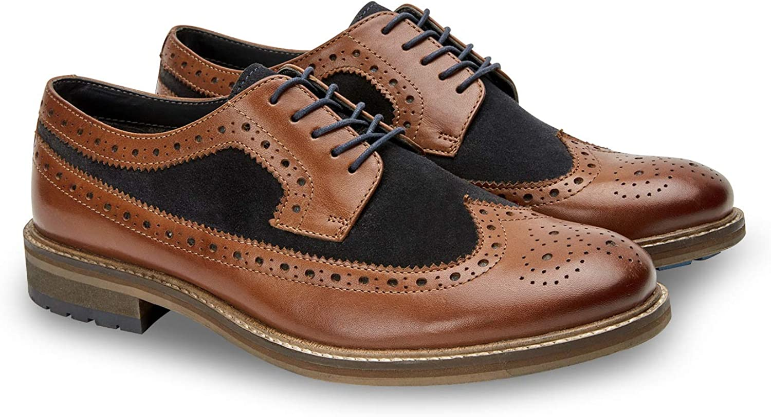 Joe Browns Mens Leather and Suede Lace Up Brogues Brown 11