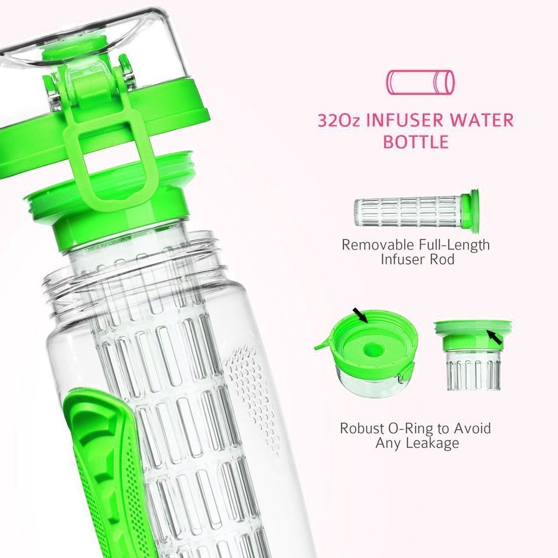 esLife Fruit Infuser Water Bottle, 32 OZ Sports Water Bottle BPA Free Tritan Plastic - Green