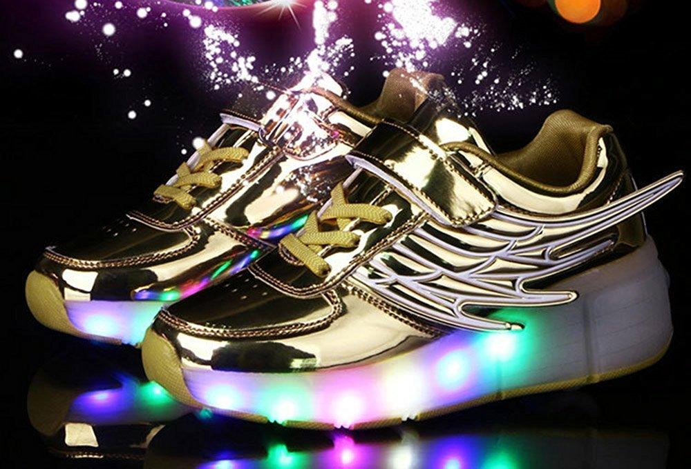 edv0d2v266 Girls Boys Wing LED Light Sneakers Shoes With Wheel Kids Roller Skate Shoes(Gold 11.5 M US Little Kid) by edv0d2v266 (Image #2)