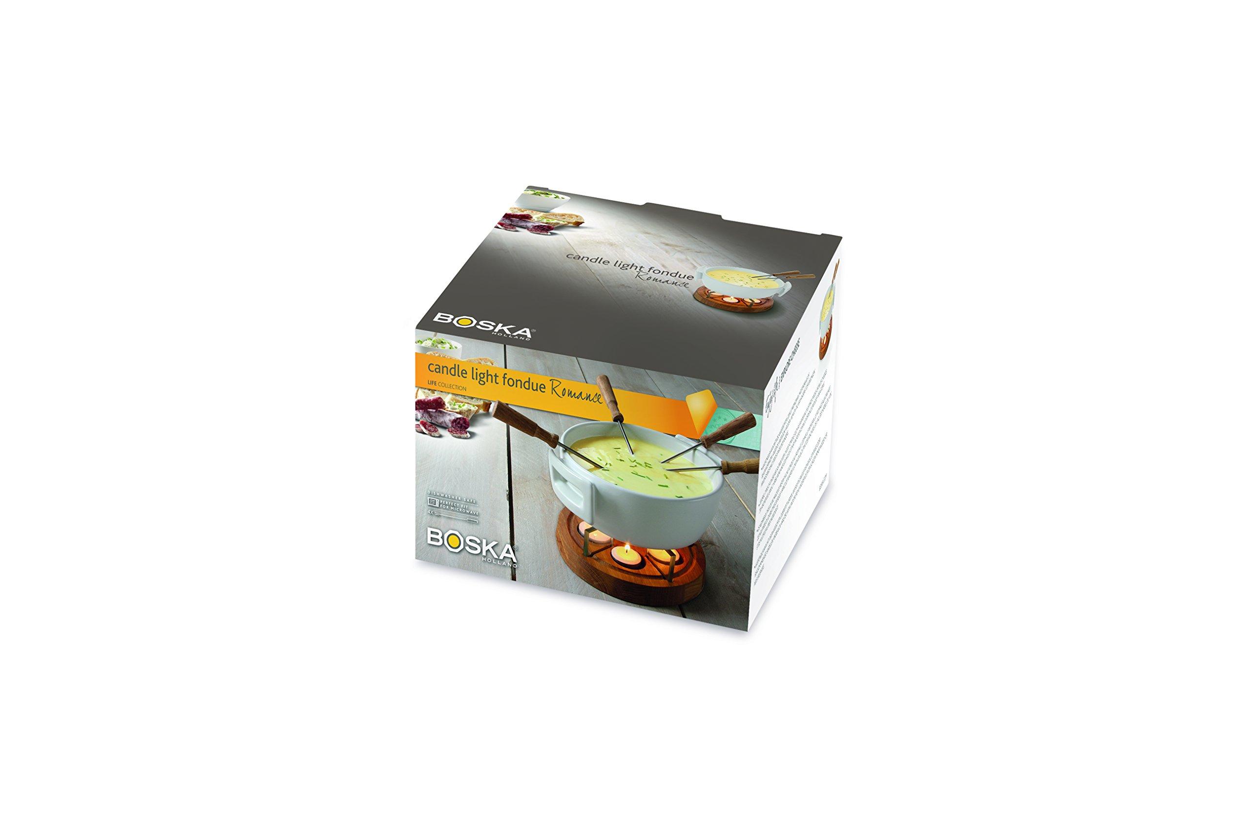 Boska Holland Tea Light Fondue Set with Oak Wood Base, 1 L White Stoneware Pot, Life Collection by Boska Holland (Image #3)