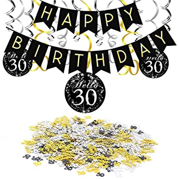 SIMUER 30 cumpleaños Negro Colgar Remolino decoración de ...