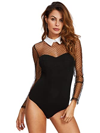 48168b92be WDIRARA Women s Sheer Patch Leotard Polka Dot Lace Mesh Bodysuit Black XS