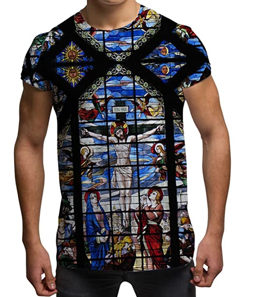 Bang Tidy Clothing Mens All Over Print Jesus Stained Glass Religious Holiday Festival T Shirt W