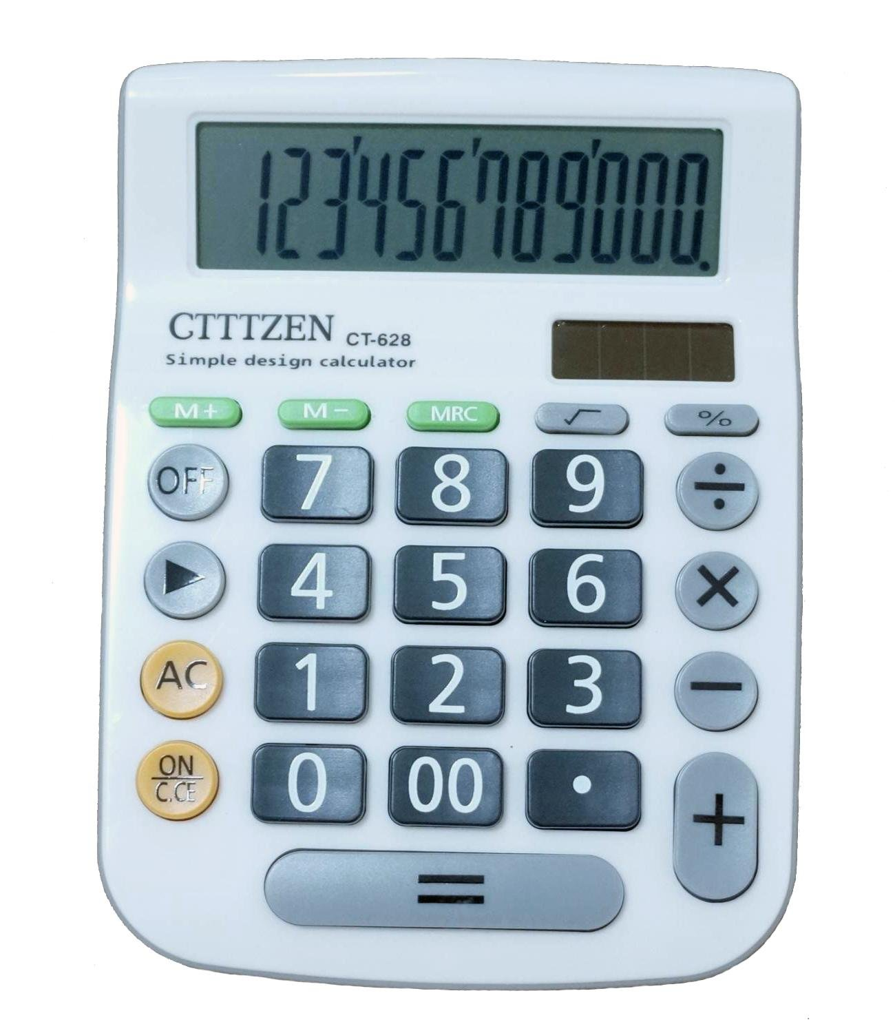 Calculators, Big Button 12 Digit Large LCD Display, Handheld for Daily and Basic Office, Solar and Battery Dual Power, White by Bestjoy
