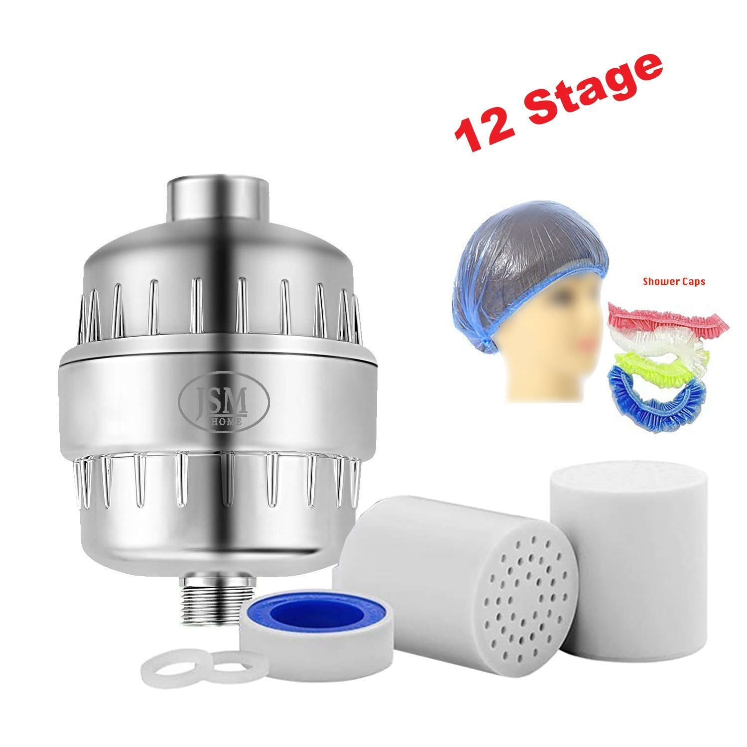 JsmHome 12 Stage Shower head hard water filter/softener, Increases Ph and ORP, removes bacteria & viruses, chlorine, impurities, fluoride, rust metal - boosts skin health