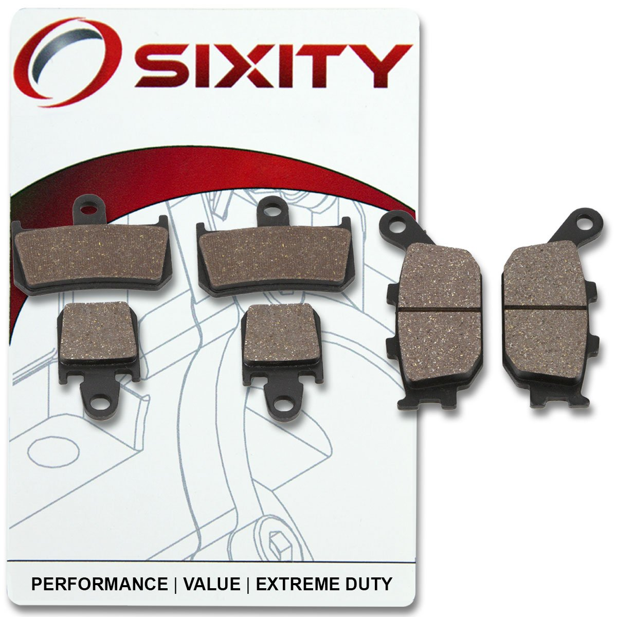 Sixity Front Rear Ceramic Brake Pads 2009-2014 for Yamaha YZF-R1 Set Full Kit 6 Piston Caliper Complete