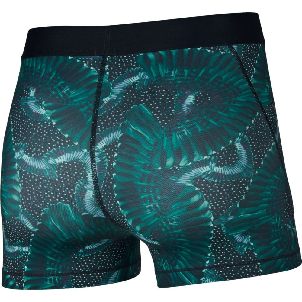 NIKE Women's Pro 3'' Print Chain Feather Short Neptune Green/Black Small by NIKE