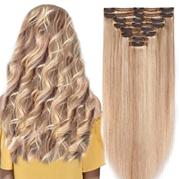 c205a5bb005 Double Weft Remy Human Hair Clip in Real Hair Extensions Full Head 8pcs  Highlighted - 10