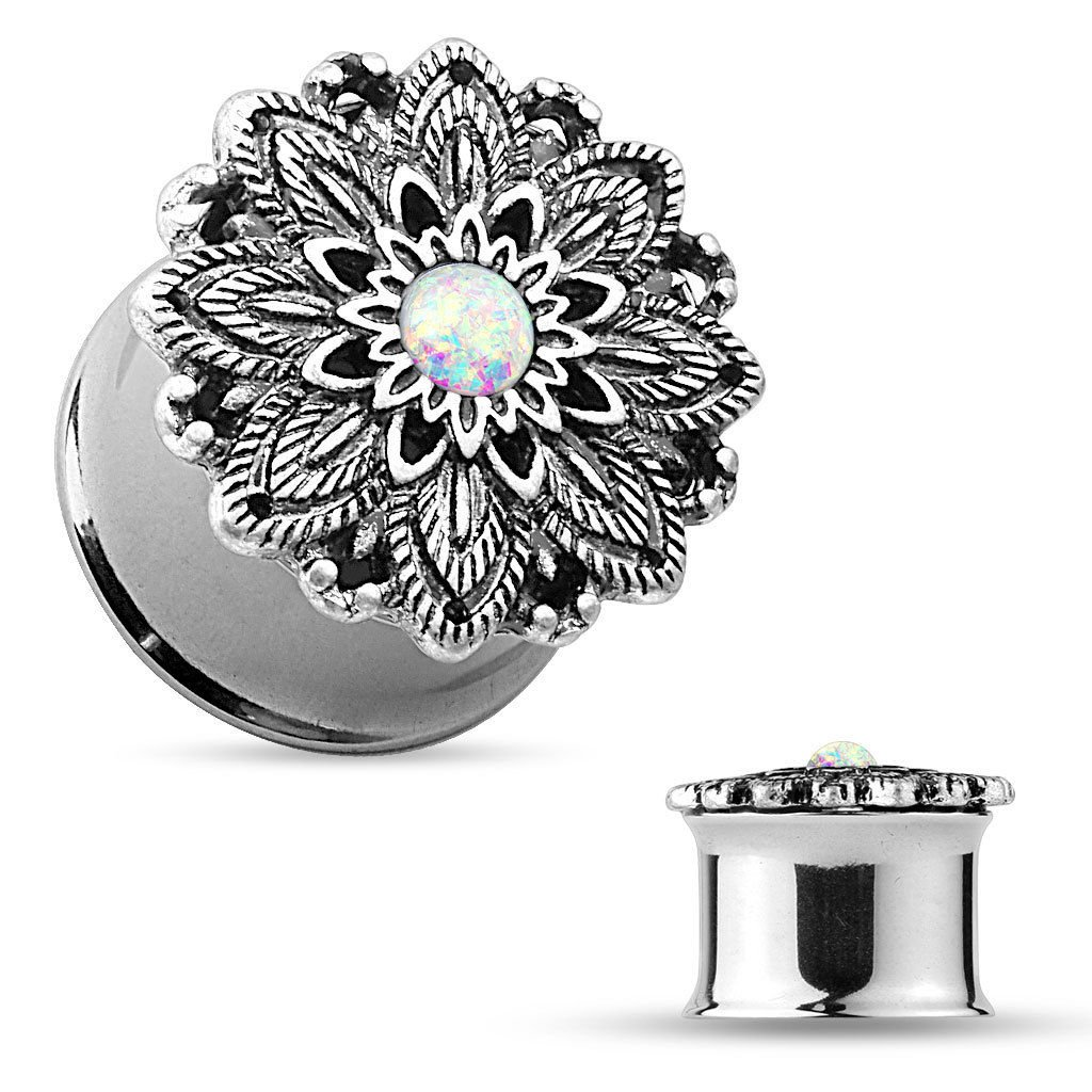 PAIR of Antique Silver Lotus with Opal Center Double Flare Steel Tunnels Plugs (2g (6mm))