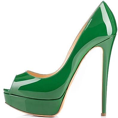 ELASHE Damenschuhe High Heels Plateau Pumps Peep Toe Stilettos Kleid-Partei Schuhe