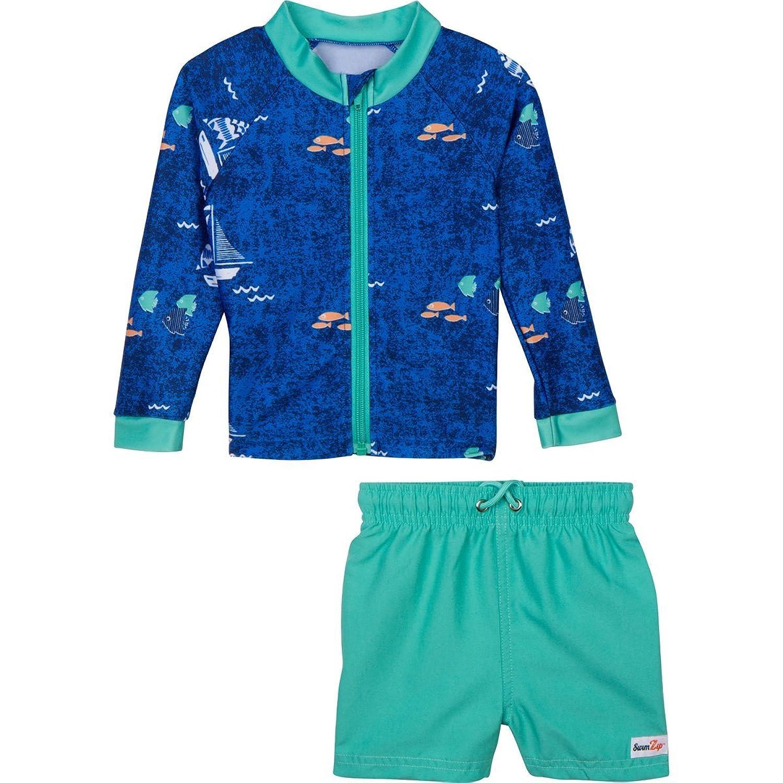 nice SwimZip Zipper Long Sleeve Rash Guard Swimsuit Set Captain Kid Blue on sale