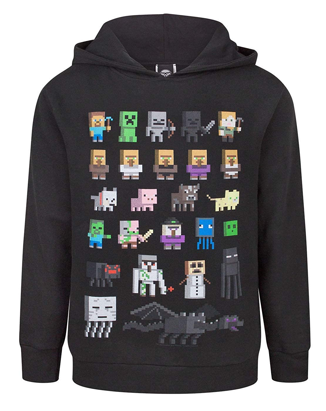 Minecraft Sprites Boy's Black Hoodie Fashion UK