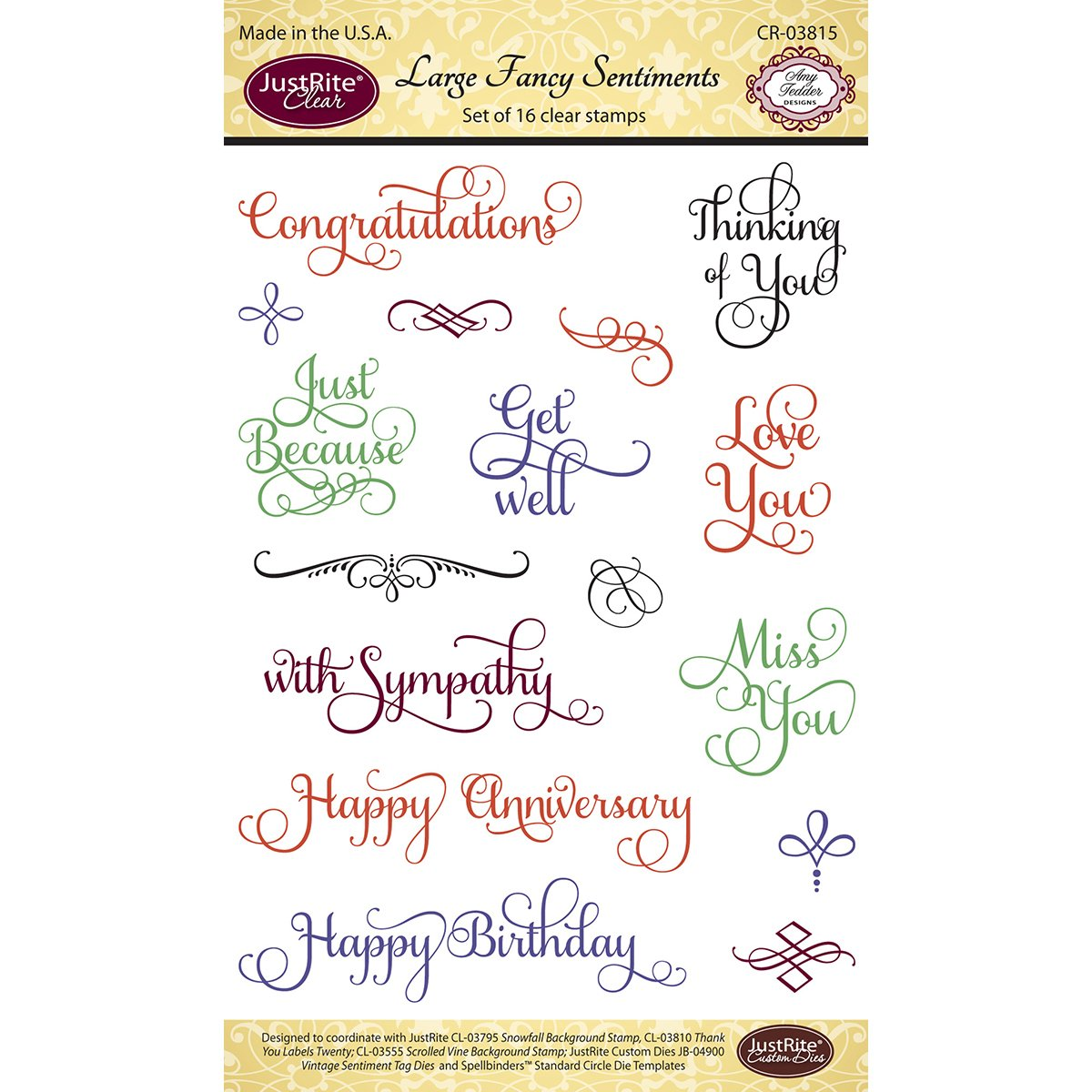 Justrite CR03815 18 Piece Papercraft Clear Stamp Set, 4 by 6, Large Fancy Sentiments 4 by 6