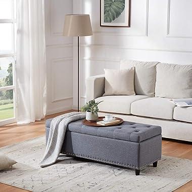 Belleze 48  Rectangular Gray Storage Fabric Ottoman Bench Tufted Footrest Lift Top