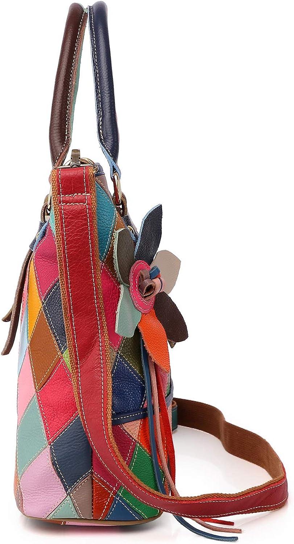 Eysee Borsa in vera pelle donne Borsa a tracolla borsetta Borsa colorata borsa multicolore Modello 1