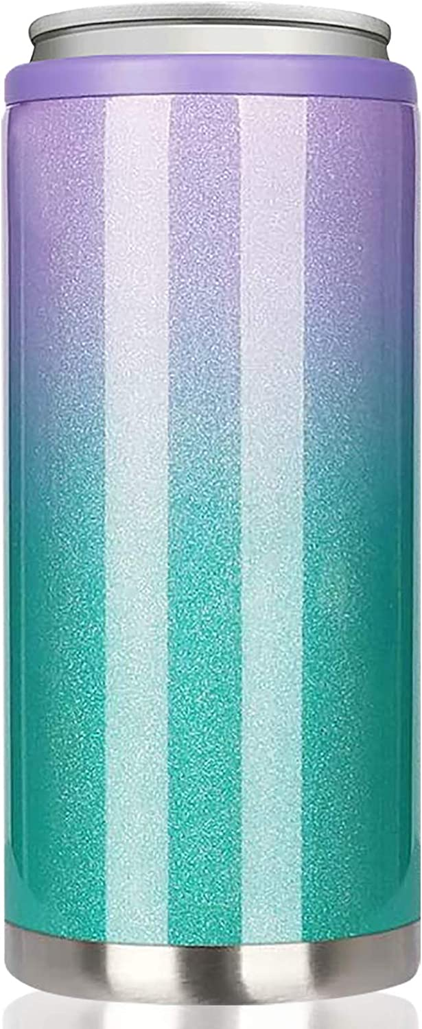 Skinny Can Cooler for Slim Beer & Hard Seltzer, Beverages and Soda | 12oz Slim Cans | Stainless Steel Double Wall Vacuum Insulated Drink Holder (Purple-Green Gradient)