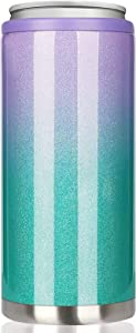 Skinny Can Cooler for Slim Beer & Hard Seltzer, Beverages and Soda   12oz Slim Cans   Stainless Steel Double Wall Vacuum Insulated Drink Holder (Purple-Green Gradient)